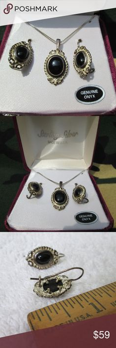Vintage Black Onyx / Sterling Set Beautiful deco set. Made in U.S.A. Drop earrings, Pendant on box chain. In Excellent condition, no scratches or chips.  Will polish before shipping at buyers request. Vintage Jewelry