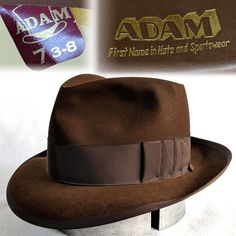 Vintage 1950s 7-3 8 Adam Brown Fur Felt Fedora mens hat Whippet Shark Gill  Bow  fashion  clothing  shoes  accessories  vintage  vintageaccessories  (ebay ... 01853cbea928