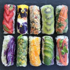 """Fruit veggie wraps to go Tag a friend you'd like to try this with I tried out sushi rice with rice paper wraps and was not disappointed. Seconds after this picture I went sweet and savory.. crushing the mango and avocado in a blink of an eye Get a closer look on SnapChat add me! """"@raw_manda"""" Happy weekend my lovies by raw_manda"""