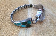#Zuni  #Silver Inlaid Turquoise Channel Inlay Watchband Links #southwestern #jewelry #vintagesilver