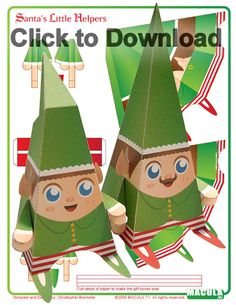 "Macula.tv has cute printable doll designs I like to describe as ""Kid Robot with a Gothic Flair."" These elves also come in blank for decorating yourself.  Click here: http://www.macula.tv/main.htm, select 'paper craft',  and scroll across the top frame to see all designs."