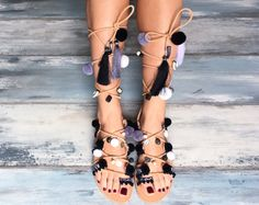 """Lace up sandals """"Black Orchid"""", handmade black and white sandals, bohemian sandals, Leather sandals, classic sandals, black tie up sandals"""