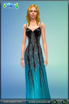 Blackys Sims 4 Zoo: Black and Turqoise dress by blackypanther • Sims 4 Downloads