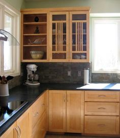 Image result for kitchen soapstone counters with maple cabinets
