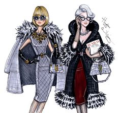 Hayden Williams Fashion Illustrations | Anna Wintour vs Miranda Priestly by Hayden Williams