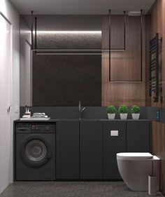 Na falta de espaço para a área de serviço, uma boa ideia é instalar a máquina de lavar no banheiro! Que tal?