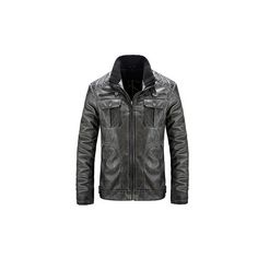 Vintage Motorcycle Style PU Leather Biker Jacket Multi Pockets... ($61) ❤ liked on Polyvore featuring men's fashion, men's clothing, men's outerwear, men's jackets, black, men coats & jackets, mens rider jacket, mens biker jacket, mens moto jacket and mens motorcycle jackets