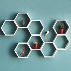 Hexagon Shelves - Home Wall Design Storage littlemajlis.com