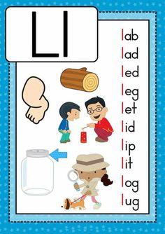 Preschool Phonics, Phonics Cards, Alphabet Phonics, Kindergarten Learning, Teaching Phonics, Preschool Learning Activities, English Grammar For Kids, English Phonics, Reading Comprehension For Kids