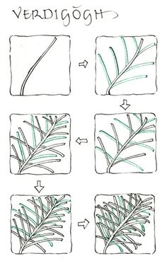 Interesting how a pine sprig can be interpreted to a Zen pattern. See next image for the Zen - Verdigogh - zentangle - tangle - doodling - Tangle Doodle, Tangle Art, Zen Doodle, Doodle Art, Zentangle Drawings, Doodles Zentangles, Doodle Drawings, Easy Drawings, Doodle Patterns