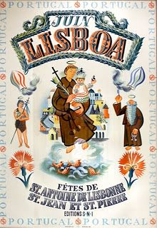 - Poster announcing the celebration of traditional festivities in June Old Posters, Vintage Travel Posters, Vintage Advertisements, Vintage Ads, Portuguese Culture, Algarve, Poster Ads, Portugal Travel, Illustrations Posters