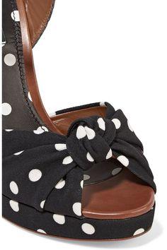 Dolce & Gabbana - Polka-dot Canvas And Raffia Sandals - Black