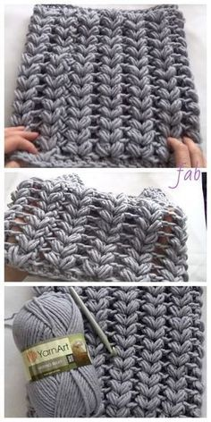 Crochet V Puff Stitch Cowl Scarf Free Crochet Patterns - Video Crochet Stitches Free, Tunisian Crochet, Crochet Blanket Patterns, Free Crochet, Stitch Patterns, Knitting Patterns, Crochet Baby, Knitting Projects, Crochet Cowls