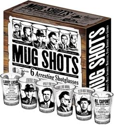 Mug Shots - Shot Glass Set Featuring Famous Gangsters, 2015 Amazon Top Rated Shot Glasses #Kitchen