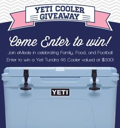 Repin for an entry to win our Yeti Cooler giveaway! Go enter all the different ways via Rafflecopter. #Giveaway