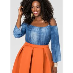 Ashley Stewart Cold Shoulder Denim Top ($45) ❤ liked on Polyvore featuring tops, sexy plus size tops, plus size denim top, plus size open shoulder tops, denim top and ashley stewart