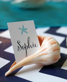Cute placecard idea for an Under the Sea / Mermaid party