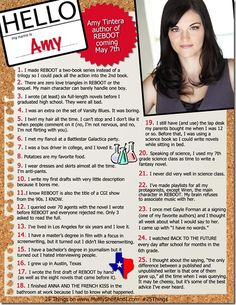 You've seen a similar feature in US Magazine, for your favorite celebrities - now see it on Me, My Shelf and I for all your favorite authors!! This week we have AMY TINTERA debut author of REBOOT (May 2013)