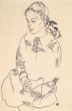 Egon Schiele - Portrait of Eva Steiner, 1918