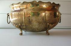 Brass Bowl Brass Planter Centerpiece by TrellisWeddingware on Etsy, $47.00