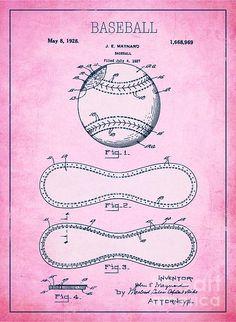 Baseball Patent Pink Us1668969 - Print