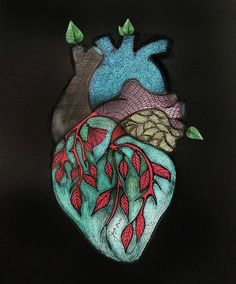 The Gift of my Broken Heart. Heart Pencil Drawing, Pencil Drawings, Biology Art, Heart Images, Sacred Heart, Elephant, Brooch, Pictures, Photos