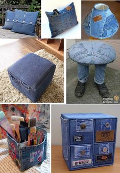 Sewing Projects Clothes Jackets Christmas Gifts 62 New Ideas Artisanats Denim, Denim And Lace, Denim Fabric, Jean Crafts, Denim Crafts, Diy Jeans, Jeans Recycling, Denim Flowers, Denim Ideas
