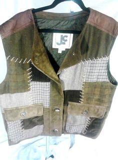JLC Mens Custom Leather Suede Corduroy Patchwork Quilt Lined Vest Size XL Browns #JLC $169.15 or best offer