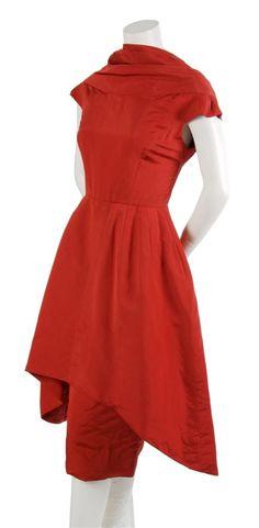 A Pauline Trigere Red Silk Sculptural Dress,   1950s