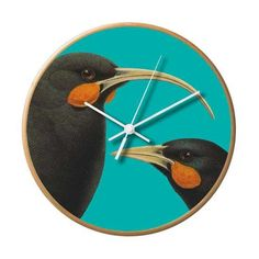 Bright New Zealand Huia Wooden Frame Wall Clock Wooden Frames, Frames On Wall, Home Clock, Blonde Wood, Electronic Gifts, Free Gift Cards, New Zealand, Bright, Bird