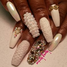 Cocaine white, pearls, diamonds and snake textured nails by @Mindy Burton Hardy on Instagram