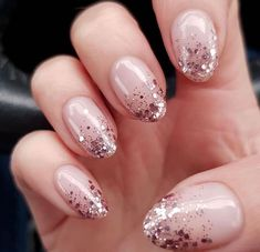 For the most beautiful ideas for shimmer nails art, head over to our gallery. We gathered the best sparkle mani designs for any taste, including rainbow ombre nails, clear French with a metallic accent and many others. Nude Nails With Glitter, Gold Sparkle Nails, Rose Gold Nails, Glitter Nail Polish, Acrylic Nails, Pink Glitter, Nails Opi, Nail Manicure, Fun Nails