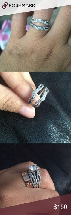 14k White Gold Ring Wrap Guard Enhancer This beautiful ring