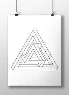Impossible Geometric Figure Print Geometric by LineLightStore