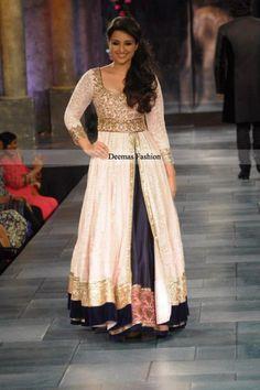 pakistani dresses   Pakistani Dress Off-White Navy Blue Gown Lehnga   Latest Pakistani ...