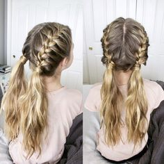 Two French braids into messy pigtails