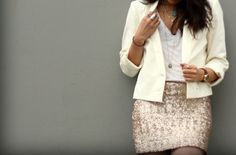 Whites & Creams + Gold Sequin Skirt + Gold Accessories