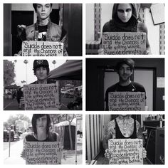 """""""Project Suicide Sign."""" This is just so so amazing; these people mean so much to me. ❤️ From left to right: Andy Biersack of Black Veil Brides, Josh Banz of Motionless In White, Oli Skyes of Bring Me The Horizon, Alex Gaskarth of All Time Low, Kellin Quinn of Sleeping With Sirens, and Ronnie Radke of Falling In Reverse. ❤️❤️"""