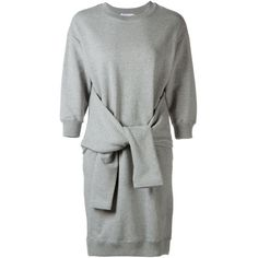 Le Ciel Bleu Sleeve-Tie Sweatshirt Dress (1 465 ZAR) ❤ liked on Polyvore featuring dresses, grey, cotton dress, grey sweatshirt dress, tie dress, sleeve dress and grey cotton dress