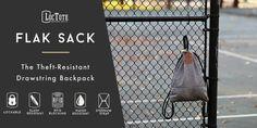 LocTote Flak Sack - Theft-Resistant Drawstring Backpack.