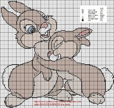 Thumper - so cute! Disney Cross Stitch Patterns, Cross Stitch For Kids, Cross Stitch Baby, Cross Stitch Animals, Counted Cross Stitch Patterns, Cross Stitch Charts, Cross Stitch Designs, Cross Stitch Embroidery, Embroidery Patterns