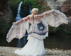 Moth Butterfly Fairy cape cloak brown and white isis wings costume adult bridal fairy handfasting