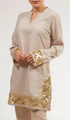 Behnaz Gold Embellished Long Modest Tunic - Pearl - Stylish Moroccan Inspired Taupe and Gold Embellished Long Modest Tunic. Save on fashionably modest Islamic and Muslim Clothing and Hijab fashion at Artizara. Stylish Dress Designs, Stylish Dresses, Simple Dresses, Long Dresses, Kurta Designs, Kurti Designs Party Wear, Sleeves Designs For Dresses, Dress Neck Designs, Sleeve Designs
