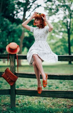 vintage dress, bright shoes - summer style