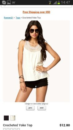 white top with black short from Forever21