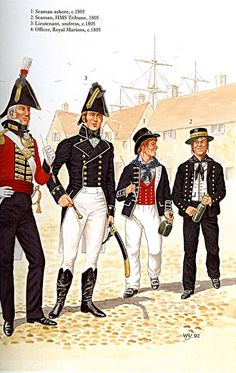 Navy and Marine uniforms British Uniforms, Navy Uniforms, Military Uniforms, Hms Pinafore, Marine Francaise, Navy Marine, Royal Marines, Navy Ships, Napoleonic Wars