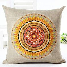 Decorative Pillow Case Colorful Geometric Pillowcase 18X18 Inches Woven Cotton Linen Chair Seat Throw Pillow Cover
