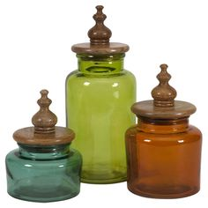 Beautiful colored glass canisters.