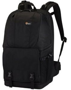 """Lowepro Fastpack 350-Black by Lowepro. $137.15. From the Manufacturer                   Fastpack 350        Manufacturer Description:  Go all day with the lightweight, comfortable Fastpack 350 backpack. It protects your pro digital SLR and 17"""" widescreen notebook compactly while providing generous storage for other gear. Side-entry compartments let you quickly grab equipment and accessories, even while you're on the move. You won't miss a shot, because side-entry co..."""
