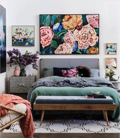 8 KEY ELEMENTS TO A MODERN & EFFORTLESSLY ECLECTIC BEDROOM - heydjangles.com - Element 1 - Oversized artwork. Floral wall art, modern bedroom, eclectic decor. Image via: Fenton & Fenton